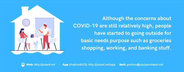 Although the concerns about COVID-19 are still relatively high, people have started to going outside for basic needs purpose such as groceries shopping, working, and banking stuff.