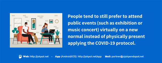 People tend to still prefer to attend public events virtually on a new normal instead of physically present by applying the COVID-19 protocol. (1)